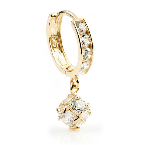 9ct Gold Hanging Crystal Ball Cartilage Huggie Earring