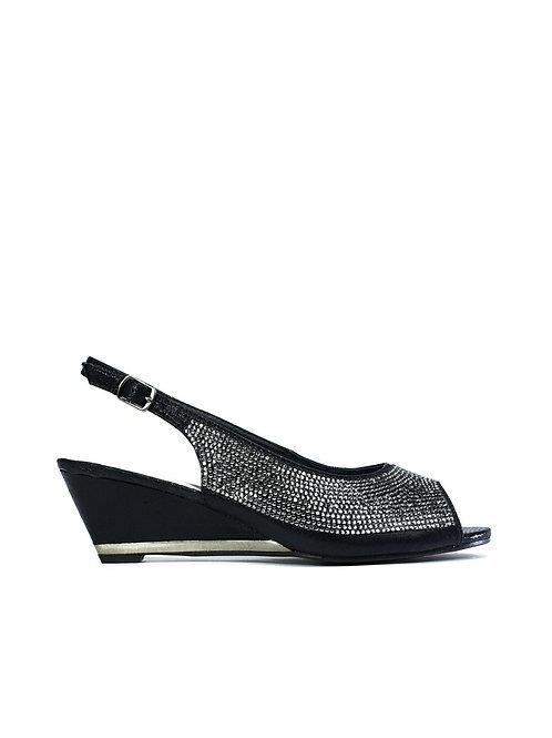 Wedge Diamante Sandal Black