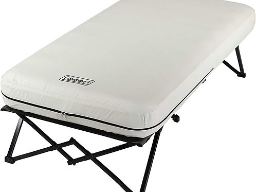 Camping Cot, Air Mattress, and Pump Combo | Folding Camp Cot and Air Bed with S