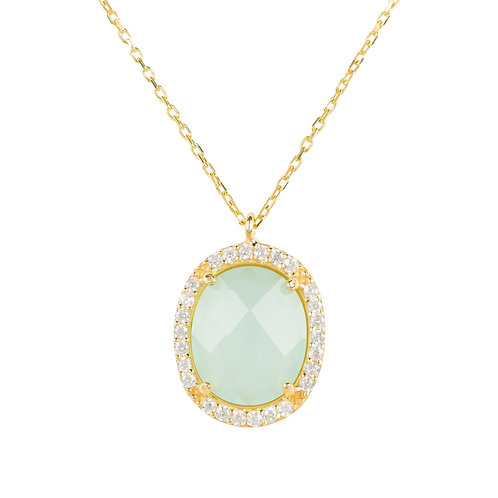 Beatrice Oval Gemstone Pendant Necklace Gold Aqua Chalcedony