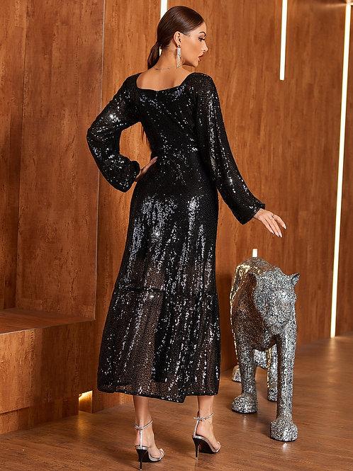 AVICII SWISS Sequins Overlay High Waist Dress