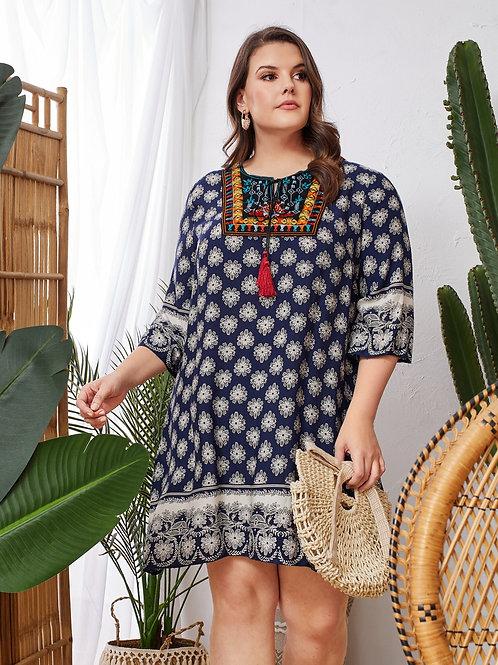 AVICII SWISS Plus Tassel Tie Neck Embroidery Yoke Floral Print Dress