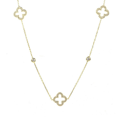 Open Clover Long Necklace Gold