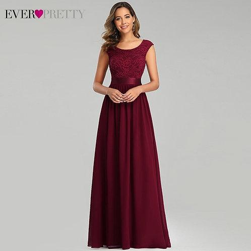 2020 Burgundy Lace Evening Dresses Formal Dresses for Party Vestidos De Noche