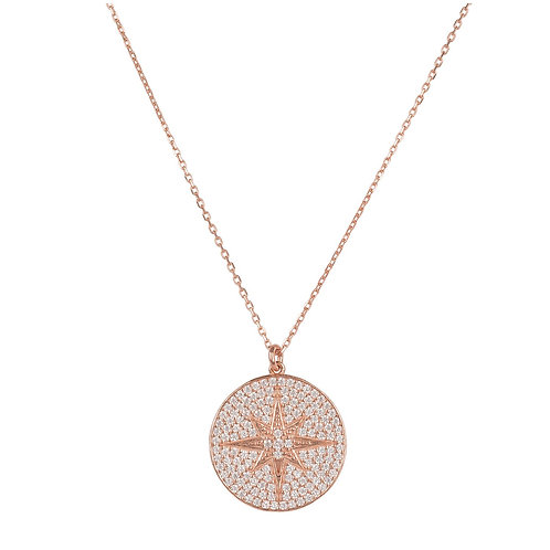 Starburst Disc Pendant Necklace Rose Gold