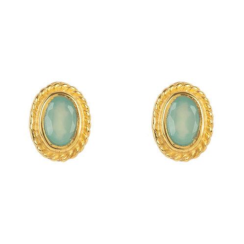 Birthstone Gold Gemstone Stud Earring  March Aqua Chalcedony
