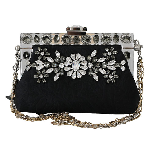 Black Ricamo  Silver Crystal Shoulder VANDA Purse