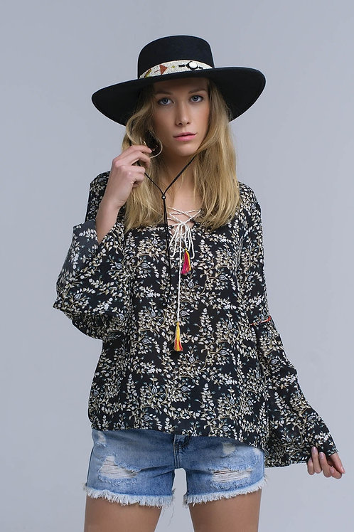 Black Top With Crossed Ribbons Closure Q2- AVICII SWISS COLLABORATION
