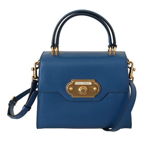 Dolce & Gabbana Blue Leather Crossbody Purse Women WELCOME Bag