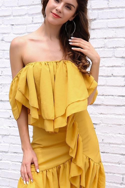 Yellow Chiffon Dress AVICII SWISS Evelyn Belluci Collaboration