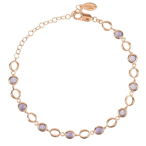 Milan Link Gemstone Bracelet Rose Gold Amethyst