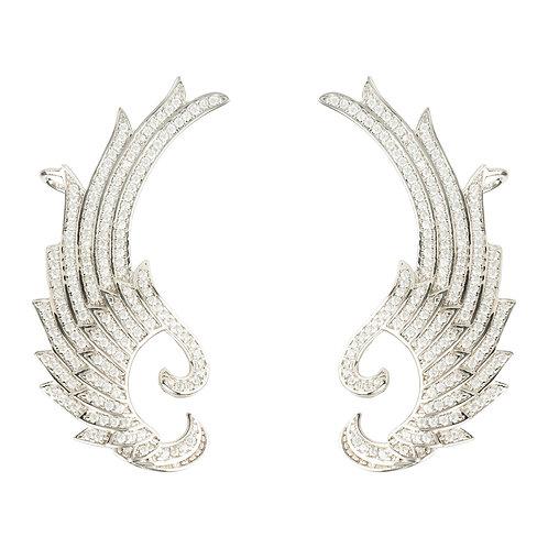 Hermes Laurel Wing Ear Climber Ear Silver