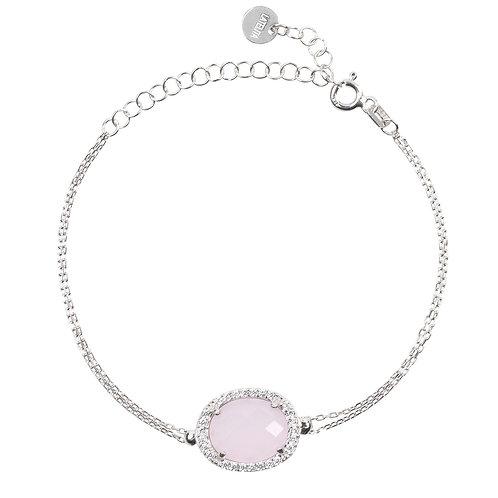 Beatrice Oval Gemstone Bracelet Silver Rose Quartz