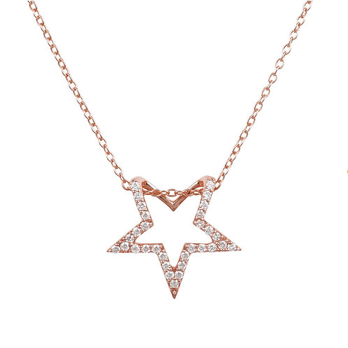 Diamond Open Star Pendant Necklace Rosegold