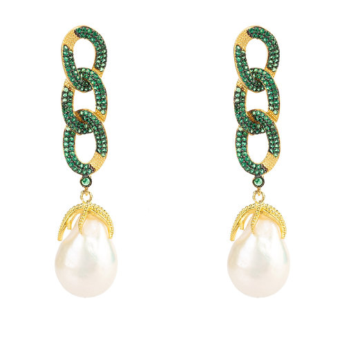 Baroque Pearl Link Chain Drop Earring Green CZ