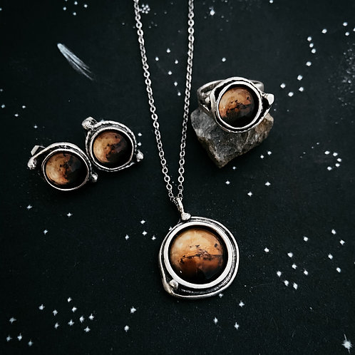 Mars Jewelry Gift Set - Necklace, Earrings, and Ring