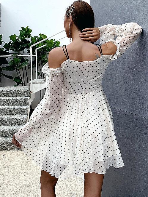 AVICII SWISS Ruched Drawstring Knot Cut-out Heart Print Dress