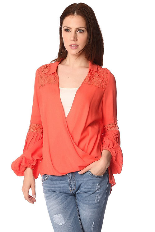 Orange Blouse With Wrap Front and Draped Detail Q2-AVICII SWISS Collaboration