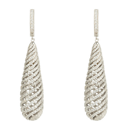 Hypnotic Spiral Drop Earrings Silver