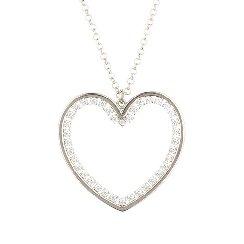 Heart Large Pendant Drop Necklace Silver