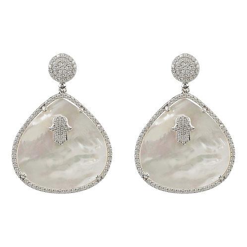 Hamsa White Mother of Pearl Teardrop Earring
