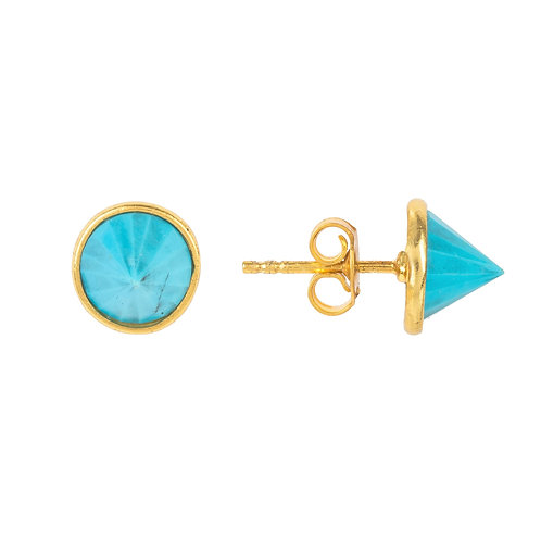 Pia Gemstone Spike Studs Gold Turquoise