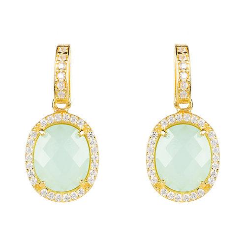 Beatrice Oval Gemstone Drop Earrings Gold Aqua Chalcedony