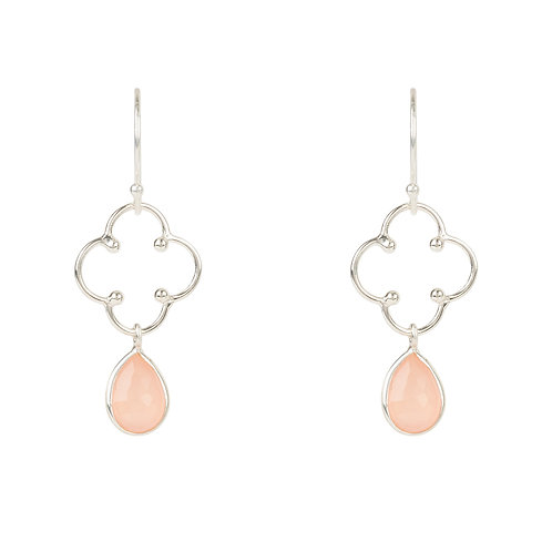 Open Clover Gemstone Drop Earring Silver Rose Quartz