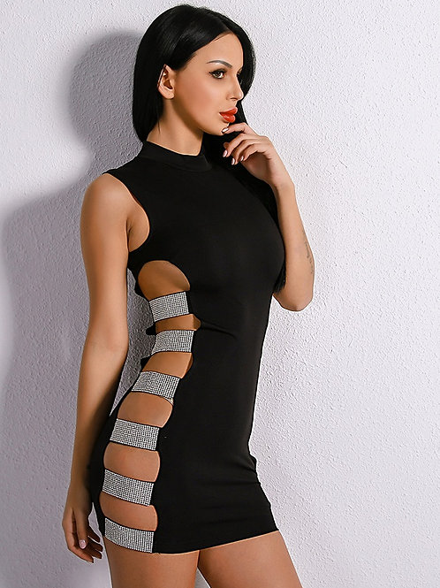 Crystal Studded Bodycon Dress AVICII SWISS Evelyn Belluci