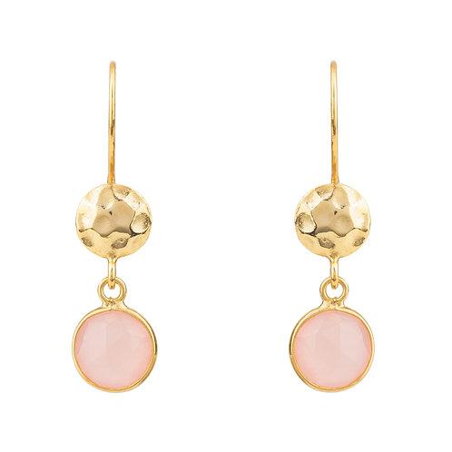 Circle & Hammer Drop Earrings Gold Rose Quartz