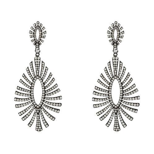 Blaze Large Drop Earring Black Oxidised Silver