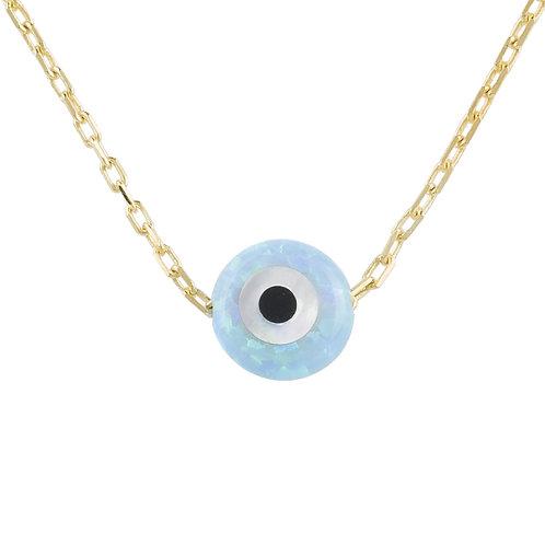Evil Eye Mini Opalite Pendant Necklace Gold