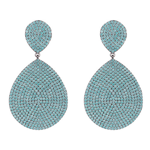 Monte Carlo Earring Aqua Blue Silver