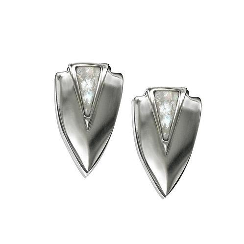 Chevron Earrings- Silver