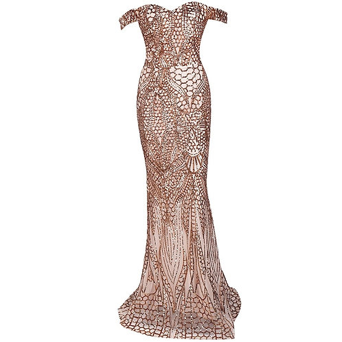 Gold Off Shoulder Evening Gown AVICII SWISS - EVELYN BELLUCI COLLABORATION