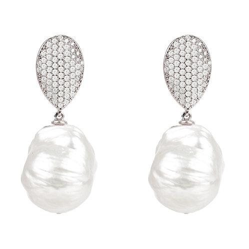 Baroque Pearl Classic Drop Earrings Silver