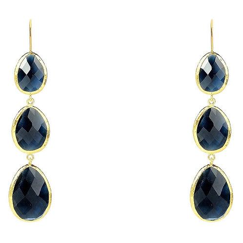 Triple Drop Earring Sapphire Hydro Gold