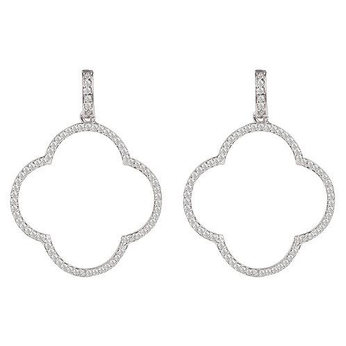 Open Clover Large Drop Earrings White CZ Silver