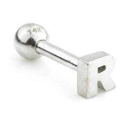 14ct Gold Letter Bar - 'R'