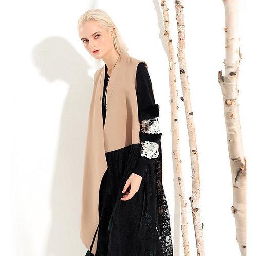 Chizue Hem Long Vest - Black Lace