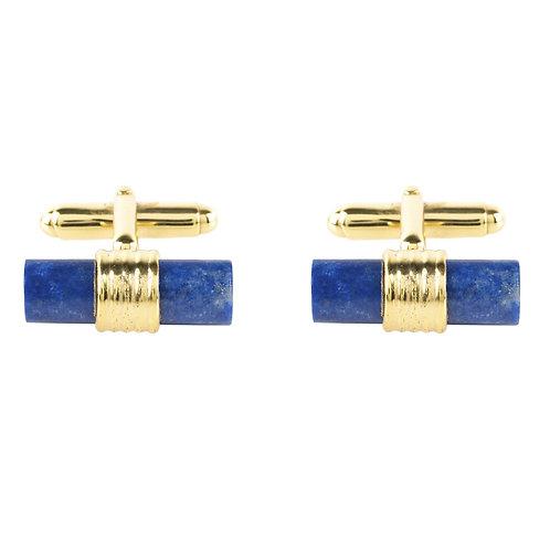 Cylindrical Cufflink Gold Blue Lapis Lazuli