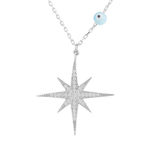 Starburst Opalite Evil Eye Necklace Sterling Silver