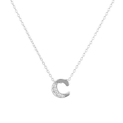 Diamond Initial Letter Pendant Necklace Silver C