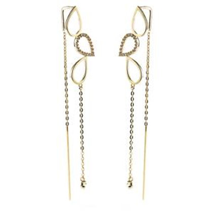 9ct Solid Gold Threader Earrings With Triple Tear