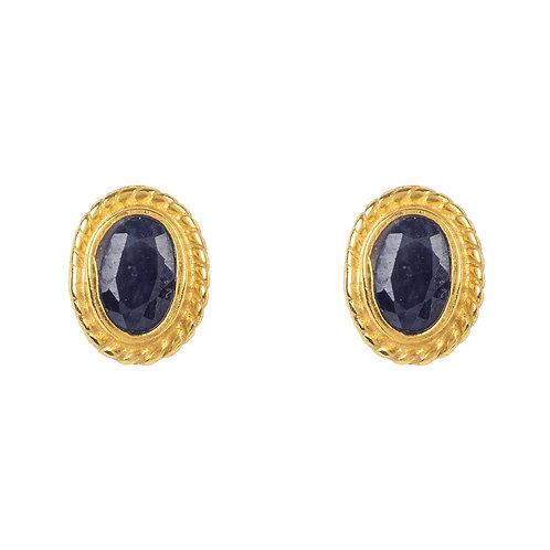 Birthstone Gold Gemstone Stud Earring September Sapphire