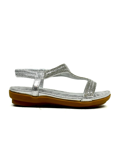 Girl's Open Toe Flat Party Sandal Silver