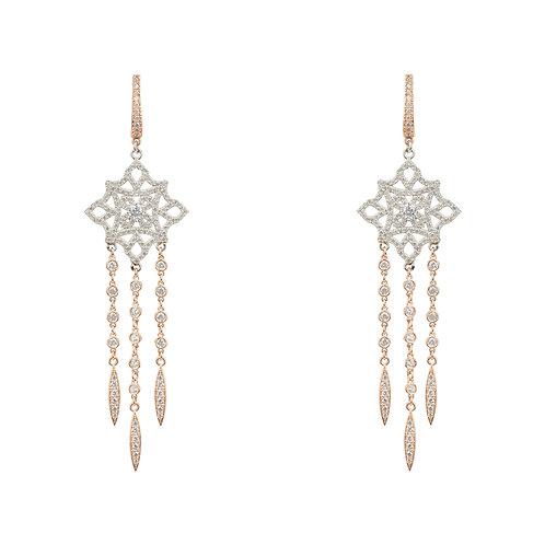 Celtic Knot Diamond Dream Catcher Earrings Rosegold