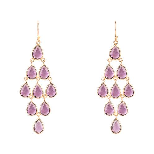 Erviola Gemstone Cascade Earring Rose Gold Amethyst Hydro