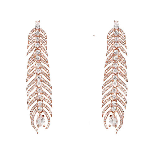 Peacock Feather Elongated Drop Earrings Rosegold