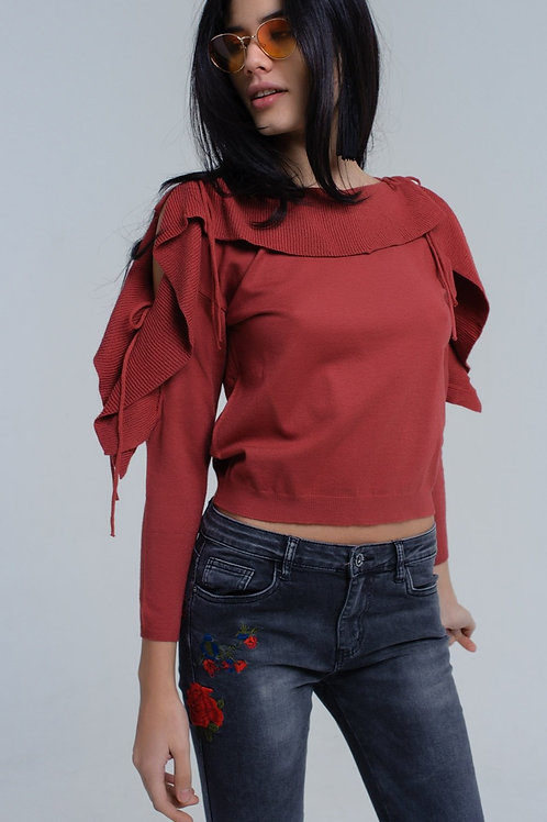 Sweater With Tied Ruffle Sleeves in Rust Q2-AVICII SWISS Collaboration